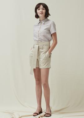 [5%신상할인+5%추가 / DONADONA]High-waist Belted Shorts_Beige