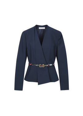 Belt Point Collarless Jacket