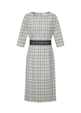 Check Patterned Lace Belt Dress