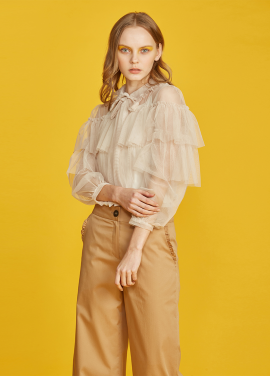 [5%신상할인+추가5% / JUST IN STLYE] Frill mesh blouse