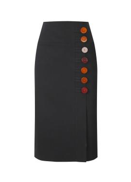 Button Point H Line Skirt
