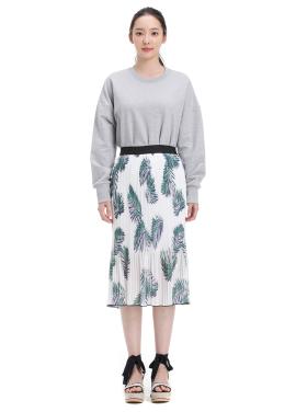 Pleats Palm Midi Skirt