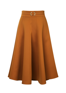 Long Flare Belt Skirt