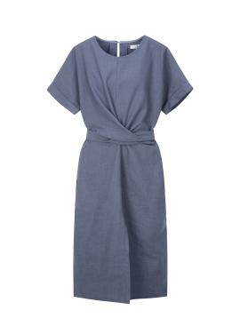 Waist Strap Linen Dress
