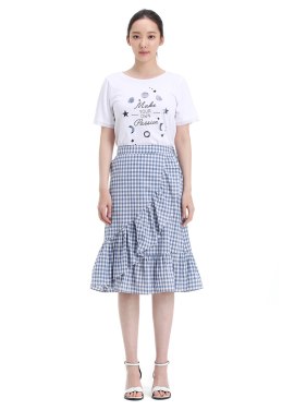 ◆ Check Patterned Cotton Skirt