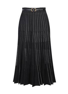 Pleats Belt Long Skirt