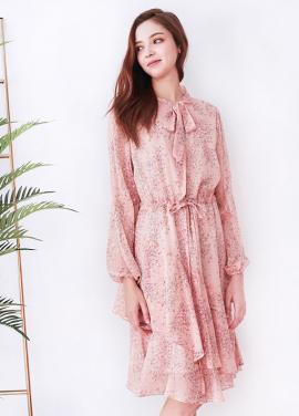 [10%할인+5%쿠폰/Minta Retro/경리 착용★] Helena Gold Pink Point Dress
