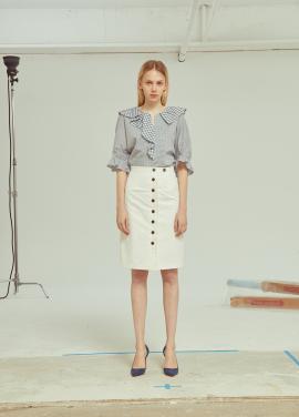 ◆Pleats Button H Line Skirt