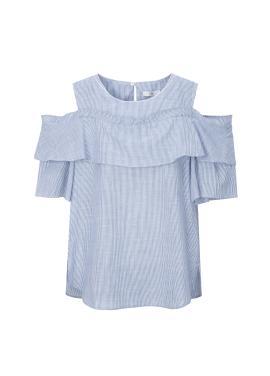 ◆ OffShoulder Stripe Cotton Blouse