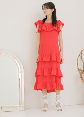 [신상5%할인+5%쿠폰/PAUL&ALICE]18SS RUFFLE LONG DRESS_RED