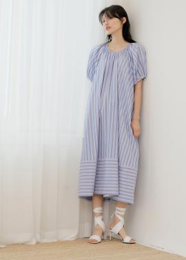 [신상5%할인+5%쿠폰/PAUL&ALICE]18SS STRIPE SHIRRING DRESS