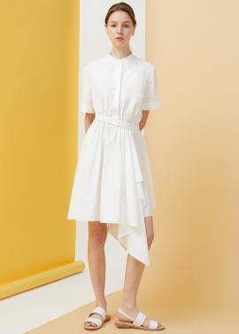 [10% 단독 선오픈 할인/Millogrem]Draped Shirts Dress - White