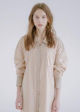 [신규런칭 7%할인쿠폰/kollab] V-NECK STRIPE DRESS BEIGE