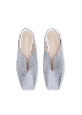 [HAILI] Lady wing tip slingback flats_silver