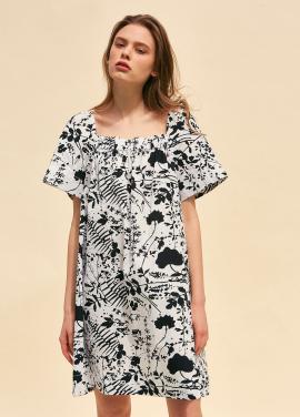 [단독 40%할인/THE SUIN] SQUARE NECK MINI DRESS. WHITE / BLACK