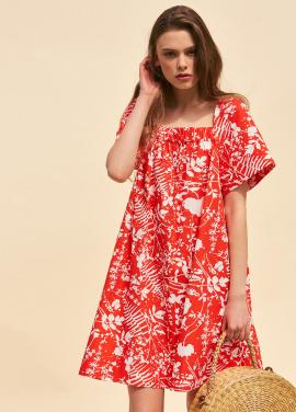 [단독 40%할인/THE SUIN] SQUARE NECK MINI DRESS. RED / WHITE