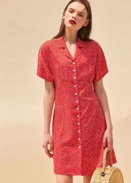 [단독 40%할인/THE SUIN] FRONT BUTTON MINI DRESS. RED