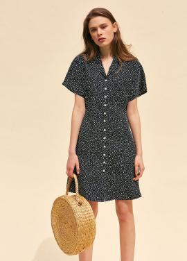 [썸머오픈 20%할인+5%쿠폰/THE SUIN] FRONT BUTTON MINI DRESS. BLACK
