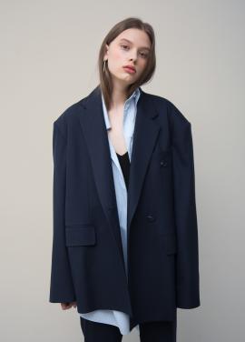 [5%쿠폰할인/TEETH OFFICE] Navy Oversized Double-collar Blazer
