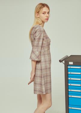 ◆V Neck Checked Dress