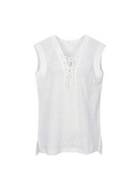 코르셋 스타일 민소매 티셔츠 [40%]