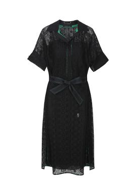 Lace Ribbon Slip Layerd Dress