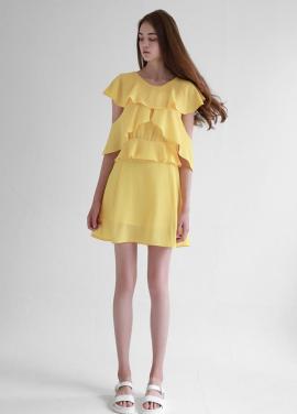 [선미착용★Sorry, Too Much Love] Ruffle Wing Chiffon Dress_Yellow