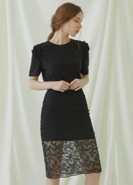 [시즌오프50%/Millogrem] Bell Laced Long Skirt - black