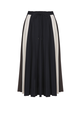 Color Point String Pleats Skirt