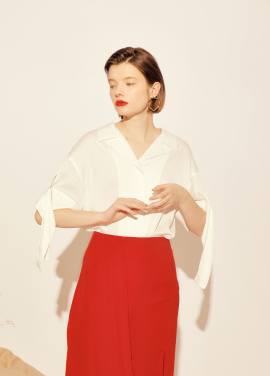 Sleeve Ribbon Blouse_WH