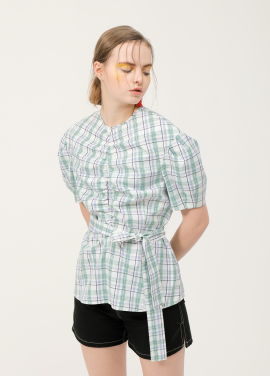 Shirring Belt Check Blouse_MX