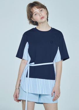 [5%할인+7%쿠폰/CLUE DE CLARE] color block sweat shirt Navy