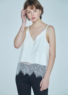 [5%할인+7%쿠폰/CLUE DE CLARE] lace detail sleeveless top White