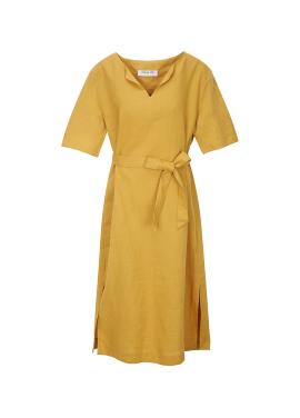 [시즌오프 30%할인/COMING STEP]Vivid Belt Linen Dress