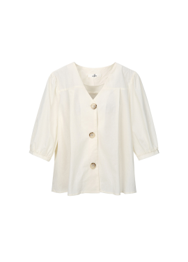 Cotton V-Neck Puff Sleeve Blouse