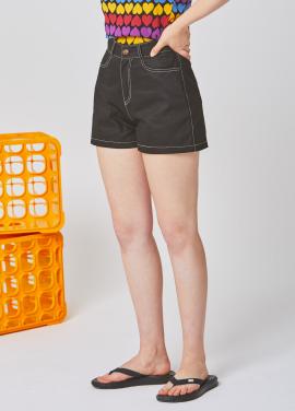 [25%할인/RYUL WAI]BLACK STITCH COTTON SHORT PANTS