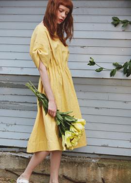 [단독 7%할인/Sorry, Too Much Love] lady linen dress_yellow
