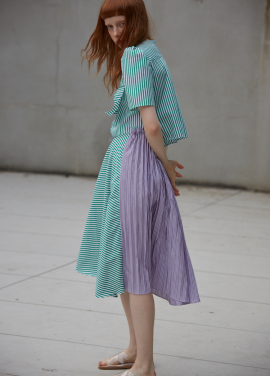 [단독 7%할인/Sorry, Too Much Love] ribbon stripe dress_green