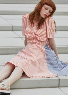 [단독 7%할인/Sorry, Too Much Love] ribbon stripe dress_orange