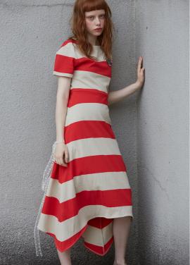 [단독 7%할인/Sorry, Too Much Love] stripe jersey dress_red