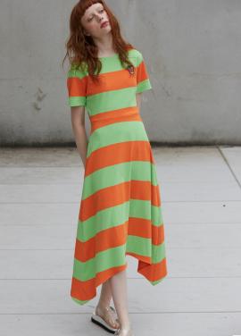 [단독 7%할인/Sorry, Too Much Love] stripe jersey dress_orange