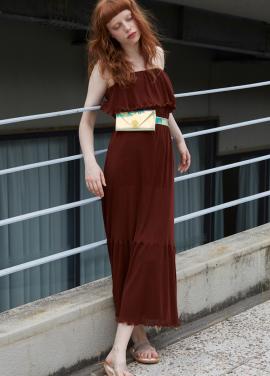 [단독 7%할인/Sorry, Too Much Love] shirring summer dress_brown