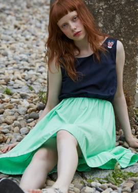 [단독 7%할인/Sorry, Too Much Love] boat neck wappen dress_light green