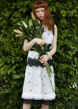 [단독 7%할인/Sorry, Too Much Love] print lace slip dress_white