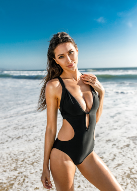 [30%할인/Chae Look]V NECK LOW CUT MONOKINI