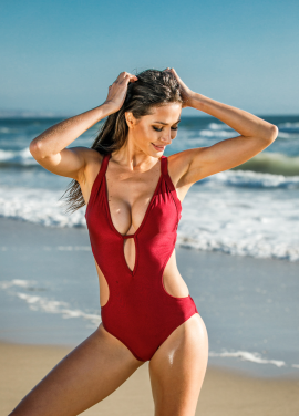 [30%할인/Chae Look]V NECK LOW CUT BURGUNDY MONOKINI