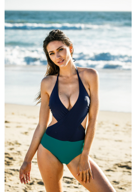 [30%할인/Chae Look]TWO WRAP MONOKINI_GREEN&DEEP BLUE