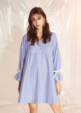 [MOONEED]Shiring Pointed Linen Onepiece