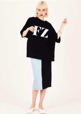 [FUZA]FZ BLACK WHITE LOGO OVERFITTED T-SHIRTS