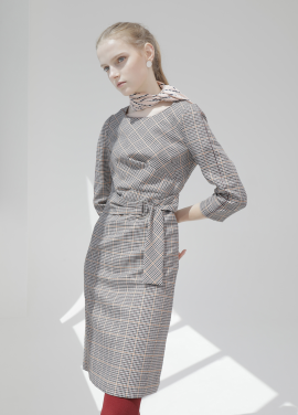 ◆Check Pattern Belted Dress